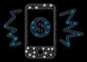 Glowing Mesh Payment Phone Ring With Sparkle Effect. Abstract Illuminated Model Of Payment Phone Rin poster