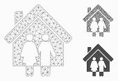 Mesh Property Model With Triangle Mosaic Icon. Wire Frame Polygonal Mesh Of Property. Vector Mosaic  poster