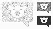 Mesh Pig Message Model With Triangle Mosaic Icon. Wire Carcass Polygonal Mesh Of Pig Message. Vector poster