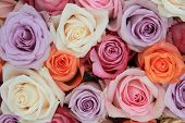 stock photo of flower-arrangement  - Bridal flower arrangement with roses in many pastel colors - JPG