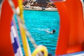Sailing Yacht Catamaran Boat On Turquoise Waters Of Aegean Sea Near Athens, Greece. Composition With poster