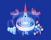 Launching Shuttle Vector Isometric Illustration. Futuristic Space Exploration Research Center Worker poster