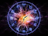 pic of occult  - Background design of Zodiac symbols gears lights and abstract design elements on the subject of astrology child birth fate destiny future prophecy horoscope and occult beliefs - JPG