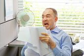 Stressed Businessman Throwing Charts Or Paperwork At Office, Businessman Throws Paper Document Pages poster