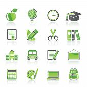 stock photo of school building  - school and education icons  - JPG