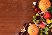 Thanksgiving, Autumn Background With Seasonal Autumn Nature Berries, Pumpkins, Apples And Flowers On poster