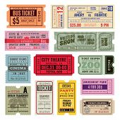 Vintage Tickets. Hand Ticket Of Circus, Cinema And Concert Party. Old Paper Voucher, Travelling Crui poster