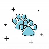 Black Paw Print Icon Isolated On White Background. Dog Or Cat Paw Print. Animal Track. Vector Illust poster