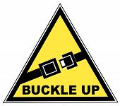 stock photo of seatbelt  - yellow seatbelt sign with words buckle up - JPG