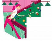 Zodiac Sports Lady. Scorpio. Girl Playing Billiards. In The Form Of A  Shield. poster