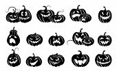 Set Of Halloween Pumpkins.  Variety  Terrifying Scary Pumpkins. Black Silhouette Isolated. Template  poster