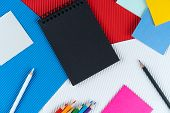 Black Notebook, Notes And Pencils Lies On Czech Flag. Mock Up, Copy Space, Pattern, Cardboard Textur poster