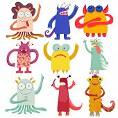 Cute Attractive Monsters Set For Print Design. Symbol Collection. Cute Monster Collection. Happy Kid poster