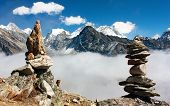 pic of field_stone  - view of everest with stone mans from gokyo ri