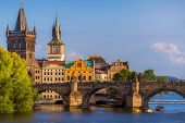 Prague Historic Cityscape With Charles Bridge And Medieval Architecture. Czech Republic, Prague poster