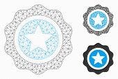 Mesh Reward Seal Model With Triangle Mosaic Icon. Wire Carcass Polygonal Mesh Of Reward Seal. Vector poster