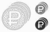 Mesh Rouble Coins Model With Triangle Mosaic Icon. Wire Frame Polygonal Mesh Of Rouble Coins. Vector poster