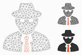 Mesh Spy Model With Triangle Mosaic Icon. Wire Frame Polygonal Mesh Of Spy. Vector Mosaic Of Triangl poster