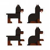 Set Of Flat Icons With Doberman. Pedigree Dog. Sitting And Standing. Vector Illustration. poster