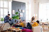 A Group Of Young Friends Relaxing Indoors, House Sharing Concept. poster
