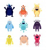 Funny Monsters. Cute Baby Monster Aliens Bizarre Avatars. Crazy Hungry Halloween Animals Isolated Ca poster