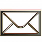 Email Envelope Isolated On White Background. Red Outerline Black Shadow Line. Email Envelope Icon In poster