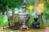 Still Life Of Vintage Objects. Collection Of Retro Objects Of Everyday Use, Household. The Samovar,  poster