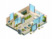 Bank Isometric. Modern Building Interior Office Open Space Banking Lobby Service Room For Managers V poster