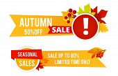 Autumn Sale Flyers. Seasonal Sale Vector Banners With Color Leaves. Season Fall Sale, Advertising Sp poster
