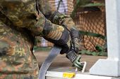 German Army Soldier Lashed Cargo With Lashing Material poster