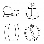 Vector Illustration Of Ocean And Travel Symbol. Set Of Ocean And Voyage Stock Symbol For Web. poster