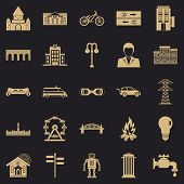 Urban Hobby Icons Set. Simple Set Of 25 Urban Hobby Icons For Web For Any Design poster