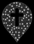 Glowing Mesh Religion Cross Marker With Glitter Effect. Abstract Illuminated Model Of Religion Cross poster