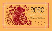 Chinese New Year 2020 Print And Web Banner Template. The Year Of The Mouse Or Rat. Vector Ornate Pap poster