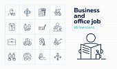 Business And Office Job Icons. Set Of Line Icons On White Background. Brains, Money, Employee, Job.  poster