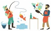 Men On Leisure Vector, Hobby Of People Male With Fishing Rod Catching Fish From Pond. Person Cooking poster