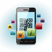 stock photo of qr codes  - qr code on smartphone screen over light background - JPG