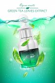 Advertising Poster For Cosmetic Product For Catalog, Magazine. Design Of Cosmetic Package. Water Bac poster