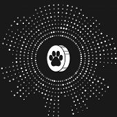 White Paw Print Icon Isolated On Grey Background. Dog Or Cat Paw Print. Animal Track. Abstract Circl poster