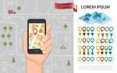 Flat Navigation Concept With Male Hand Holding Phone With Gps Navigator City Map Colorful Pins And P poster
