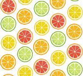 Positive Bright Summer Fruit Background In Green Yellow Red Orange Colors. Vector Seamless Pattern.  poster