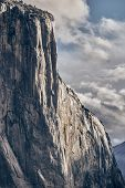 El Capitan rock close-up in Yosemite National Park Valley at cloudy autumn morning from Tunnel View. poster