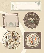 Set of vintage labels with landmarks poster