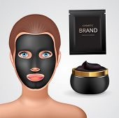 Beauty Fashion Girl Apply Facial Charcoal Black Mask. Facial Mask Cosmetics Packaging. Package Desig poster