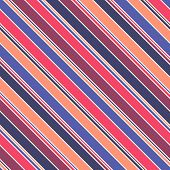 Diagonal Stripes Vector Seamless Pattern. Modern Multicolor Texture, Orange, Red, Maroon, Blue And N poster