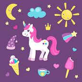 Set Of Cute Unicorn Or Beautiful Horse With Different Cute Items. Sun And Moon, Rainbow And Ice Crea poster