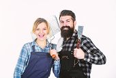 Couple In Love Getting Ready For Barbecue. Picnic And Barbecue. Man Bearded Guy And Girl Ready For B poster