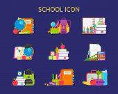Vector Cartoon Illustration School Supplies Icon, Stickers, Emblems. Back To School Concept. School  poster