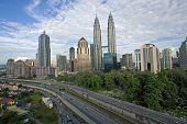 pic of petronas twin towers  - Malaysian capital overview of Kuala Lumpur skyline - JPG