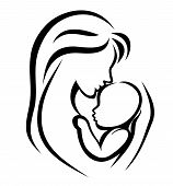 foto of nurture  - mother and baby symbol hand drawn silhouette - JPG